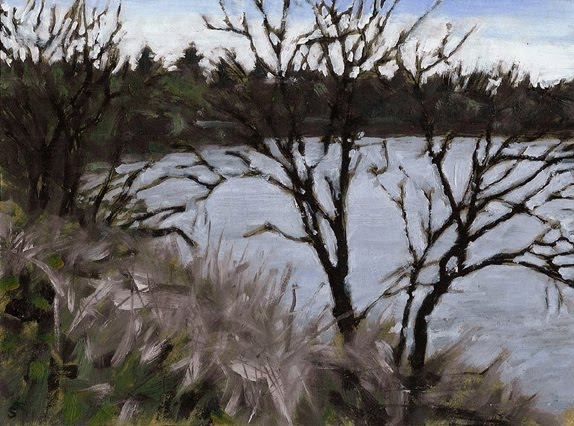 "Cold Day on the Assiniboine, Oil on Board,8"" x 6"""