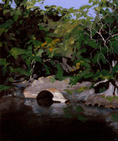 "Culvert, Seine River, Oil on Paper, 6.5"" x 7.75"""