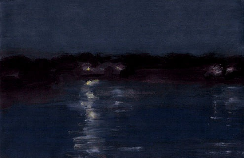"Night, Red River, Gouache on Paper, 7"" x 4.5"""