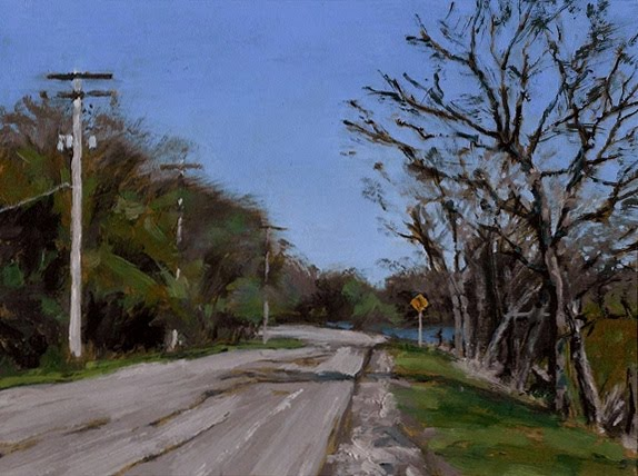 "River Road, Summer, Oil on Board, 8"" x 6"""