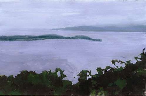 "Sawyer Harbour, Wisconsin, Gouache on Paper, 7"" x 4.5"""