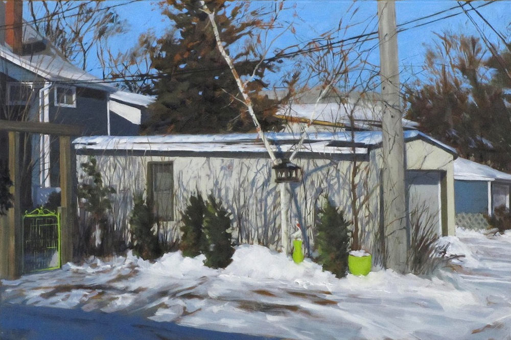 "Dave's Garage, Oil on Canvas, 30"" x 20"", 2012"