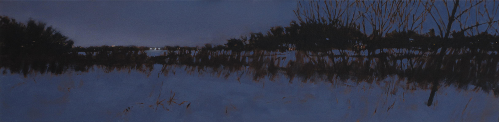 "Three Lights, Oil on Canvas, 2014, 48"" x 12"", SOLD"