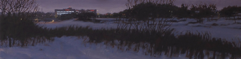 "St. Boniface Hospital at Night, Oil on Canvas, 2014, 48"" x 12"""