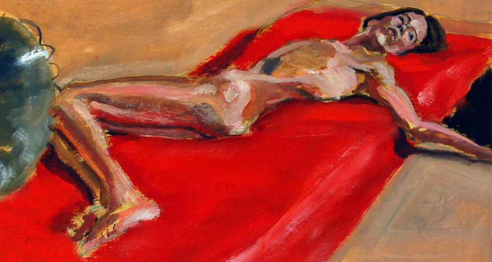 "Red Mat, Oil on Paper, 18"" x 12"""