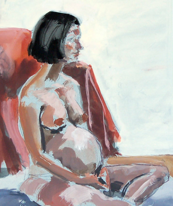 "Pregnant Model, Gouache on Paper, 8"" x 10"""