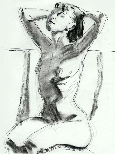 "Stretching, Graphite, Ink and Charcoal on Paper, 8.25"" x 11"""