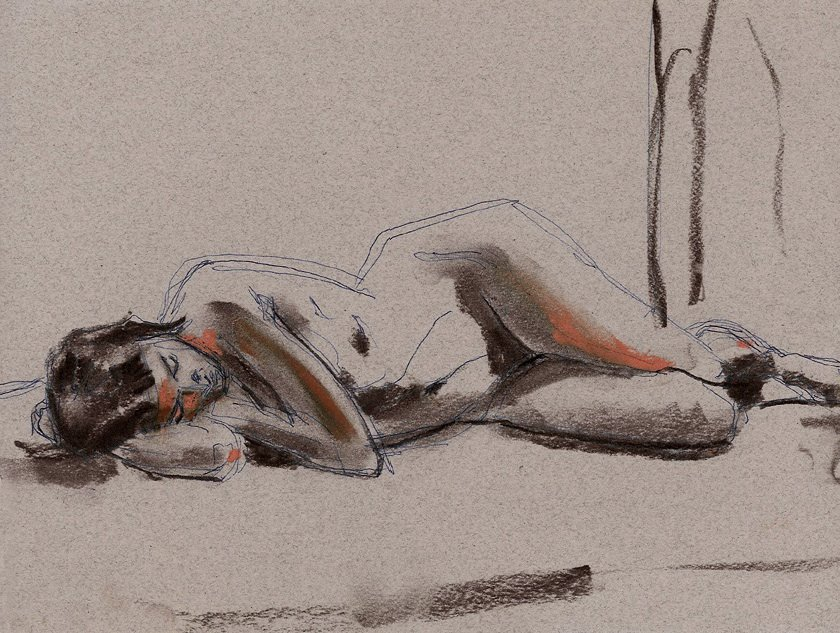 "On Her Side, Ink, Charcoal and Pastel on Paper, 12"" x 9"""