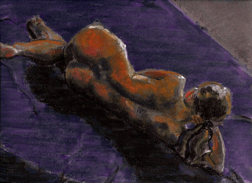 RS-106, Orange Back, Pastel on Paper, 12x9, NUDE.jpg