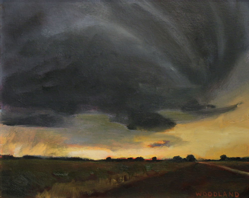 "Night-time Thunderstorm, Oil on Artboard, 2011, 8"" x 10"""
