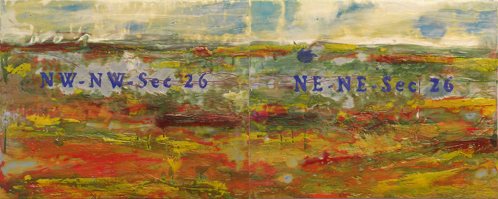 "Red Day Slough (Diptych), Spirit Lake, Oil, Pigment, beeswax, Microcrystalline Wax and Dammar Resin on Canvas, 20"" x 16"""