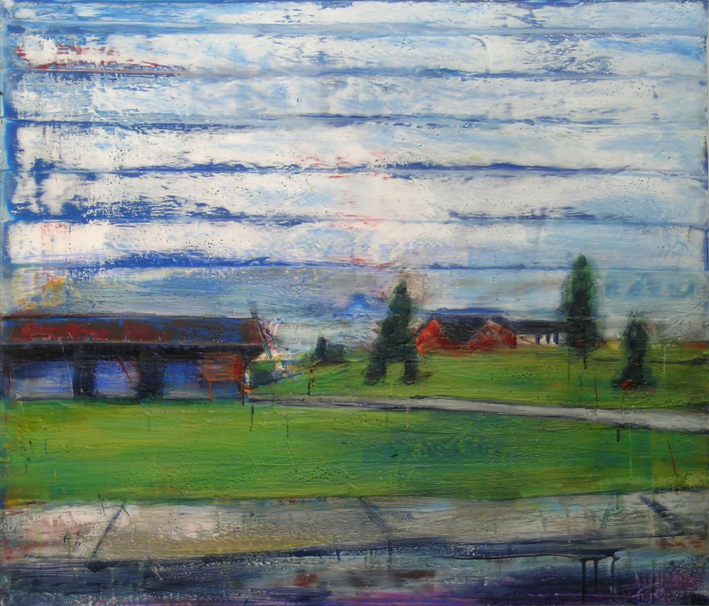 "The Blue Building, Spirit Lake, Oil, Pigment, beeswax, Microcrystalline Wax and Dammar Resin on Canvas, 42"" x 36"""