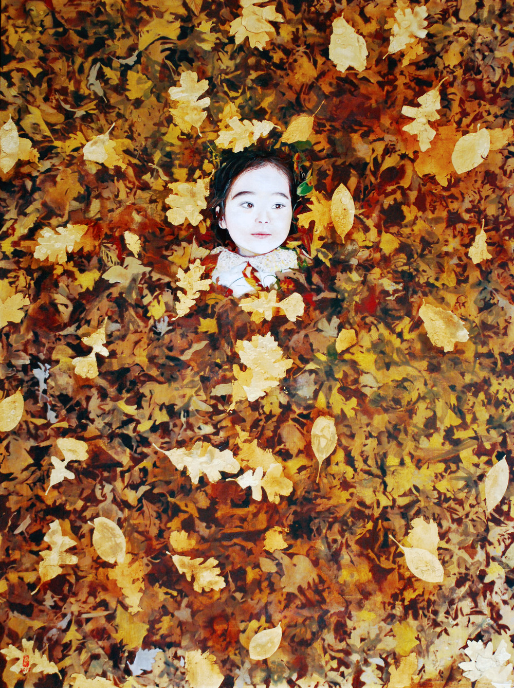 Ten Thousand Leaves III, Oil and Patina on Gold Leafed Panel