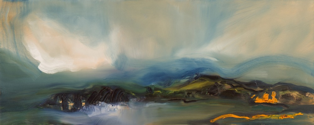 "Lisa Johnson, Looking Across, Oil on Canvas, 2014, 40""x16"""