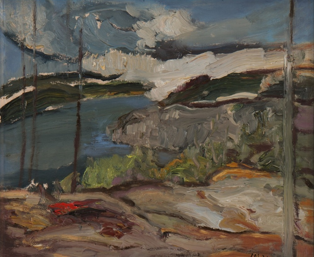 "Lisa Johnson, Cliff View (Casson's Point), Oil on Wood, 2013, 13.5"" x12"""