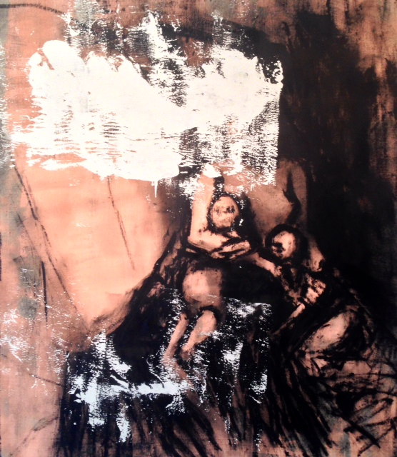 "CW-094, Mother Protecting Children, Oil bar and acrylic on canvas, 65"" x 55"", $2,200"