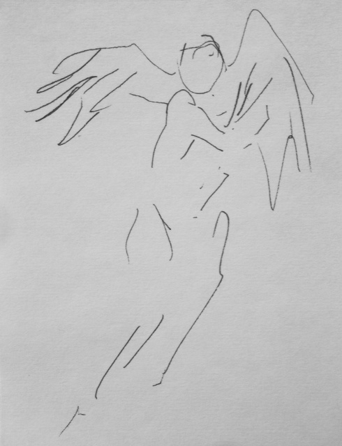 "CW-097, Winged Figure, Ink on Paper, 6"" x 5"", $500"
