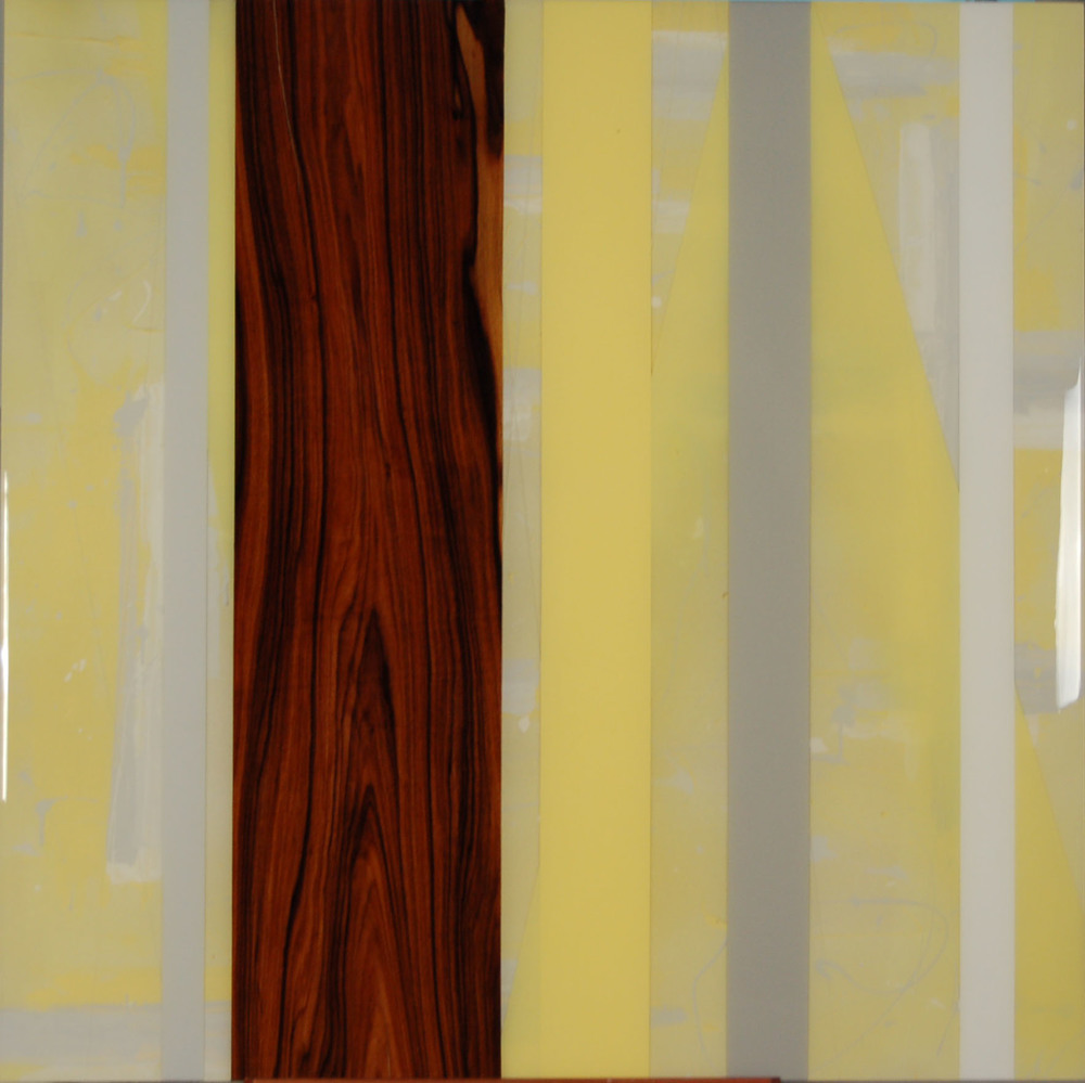 "KH-017, Untitled (Yellow), Acrylic Paint, Rosewood, Resin, 2015, 40"" X 40"", $1,350"