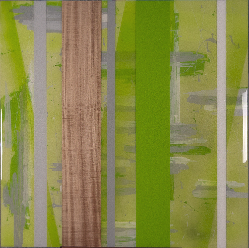 "KH-015,  Untitled (Green), Acrylic Paint, Cherry, Resin, 40"" x 40"", $1,350"