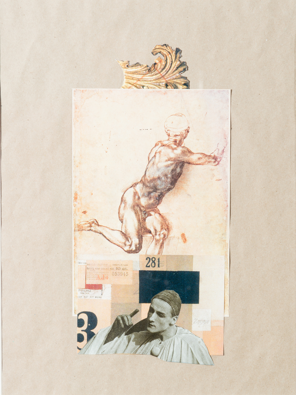 TL-047, Talk to me (four letters about love), collage, 2015, 19x23, $575