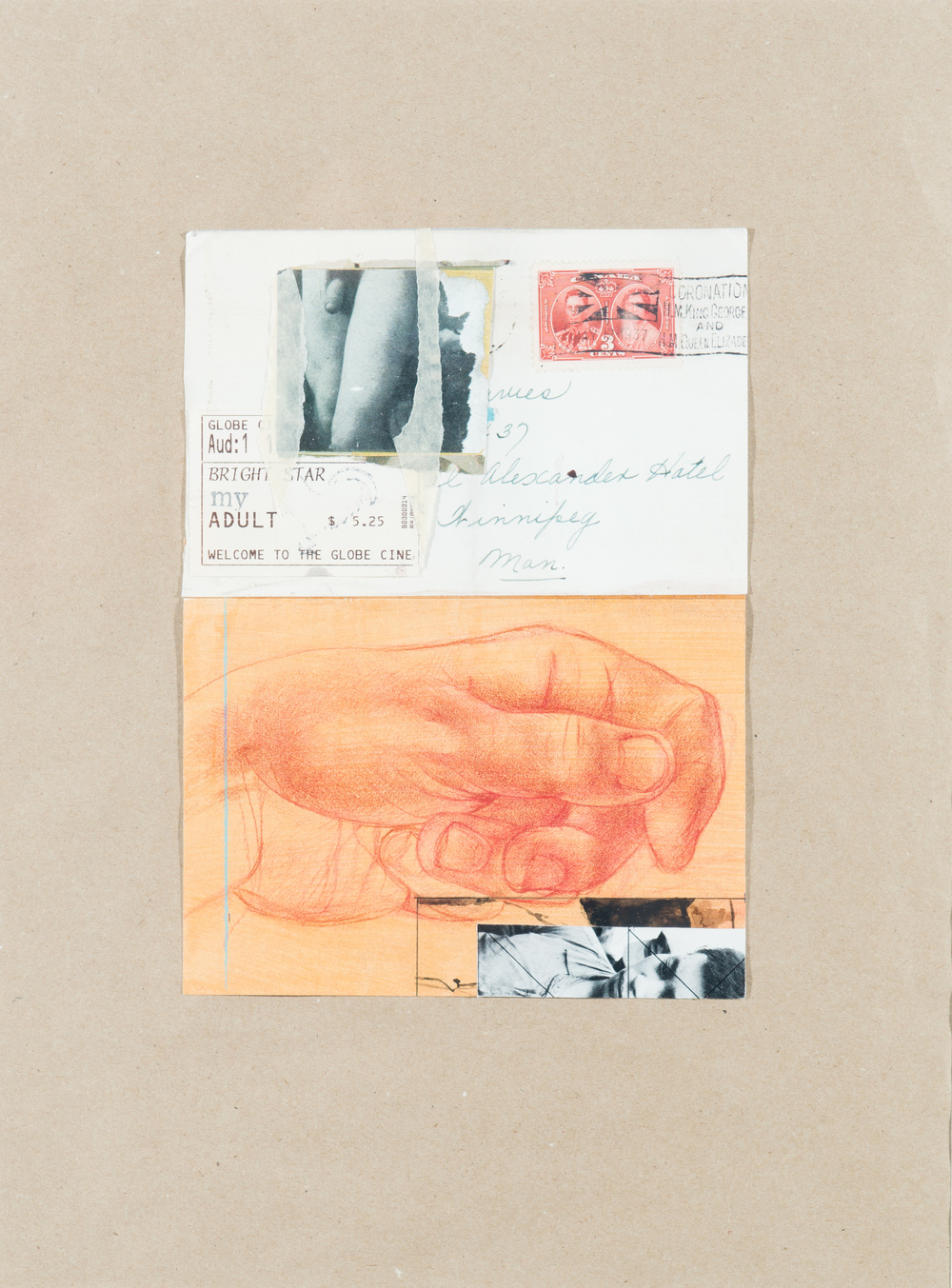 TL-046, Coincidence (four letters about love), collage, 19 x 23, $575