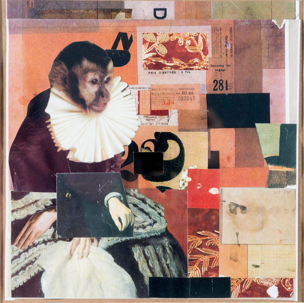 TL-050-Self Portrait Wearing a Ruff, Collage, 2015, 20.625 x 20.625, SOLD
