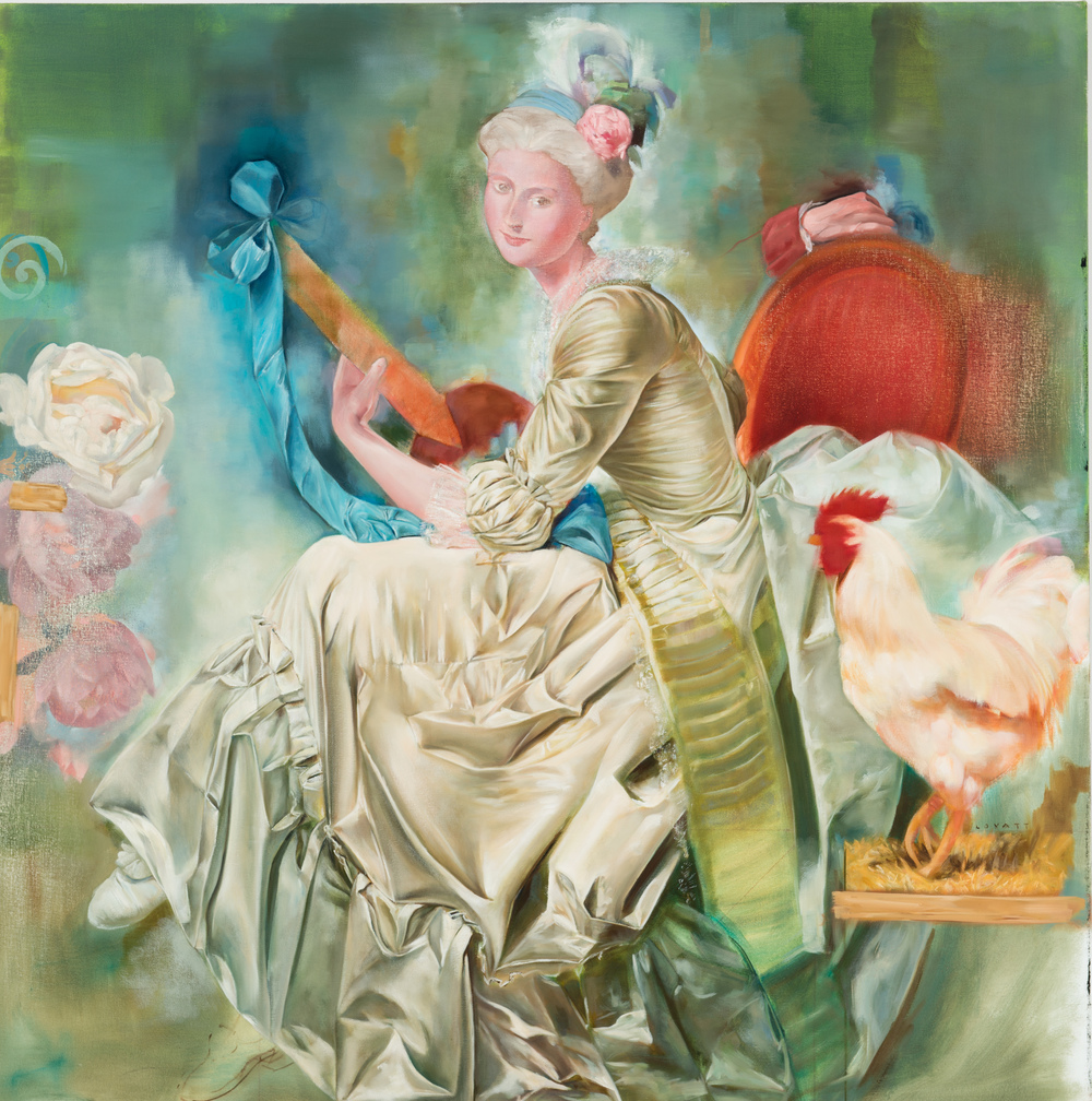 TL-060, Lady with a rooster, oil on canvas, 42 x 42, $4,750