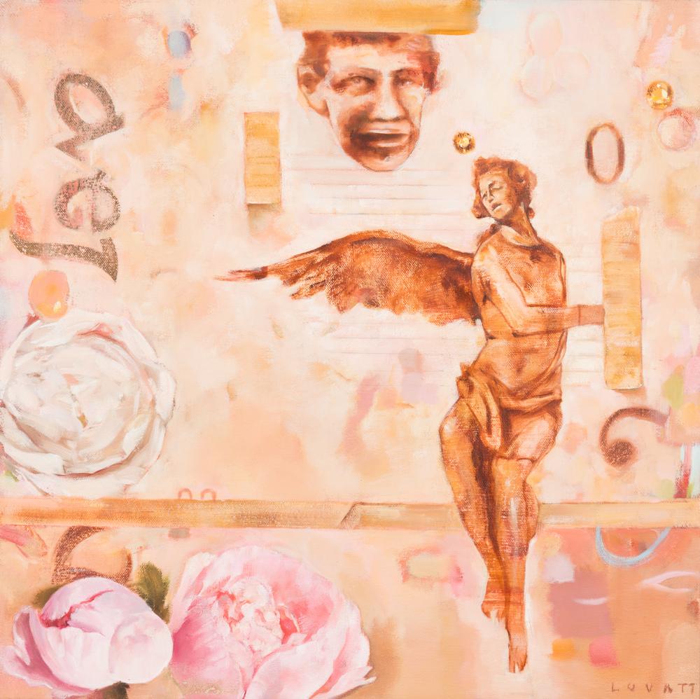 TL-062, Fallen Angel, Oil on Canvas, 2015, 18 x 18, $1,250