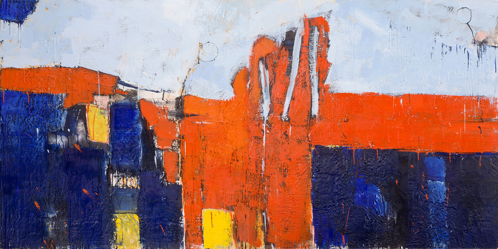 KW-062, Keith Wood, This Time 2, 2015, Encaustic on Panel, 72 x 36, SOLD