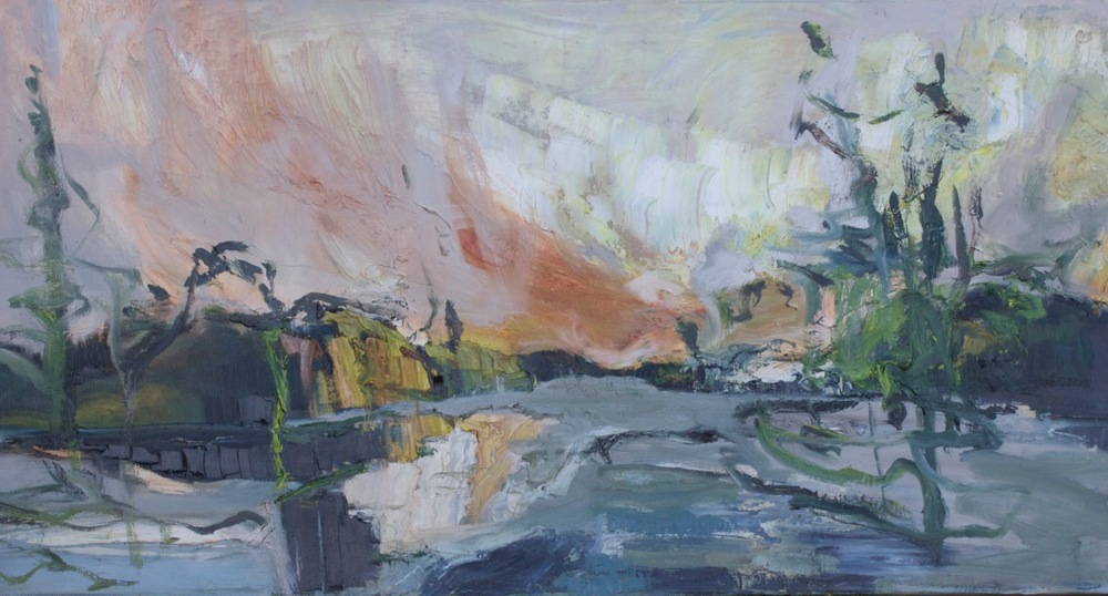 LJ-015, Journey, oil on canvas, 40 x 20, 2015, $1,800