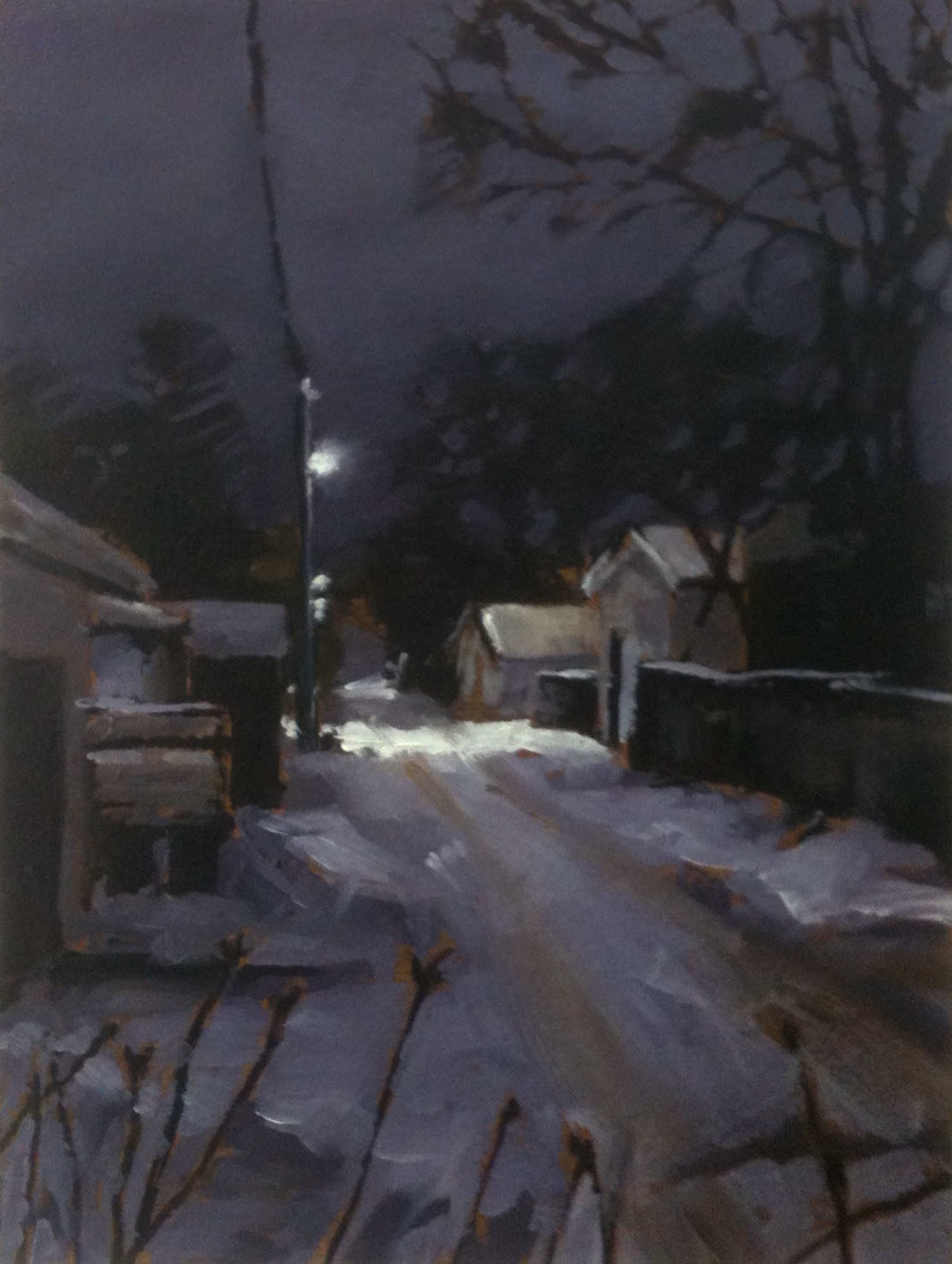 RS-194, Study for Back Lane at Night, oil on paper, 2015, 9x12, $1,200