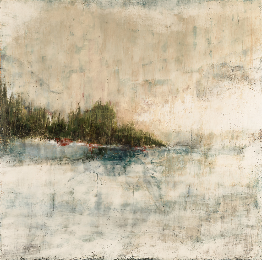 SG-093, Sue Gordon, Because of You, Encaustic on Birch Panel, 40x40, 2016