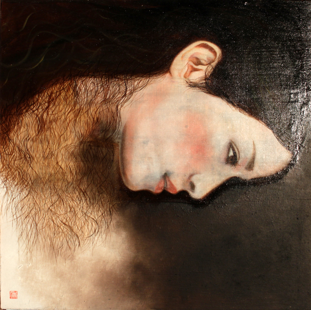 KS-040, Kae Sasaki, Untitled (Woman in Profile II), 2013, Oil on Gold Leaf on Wood Panel, 16 x 16