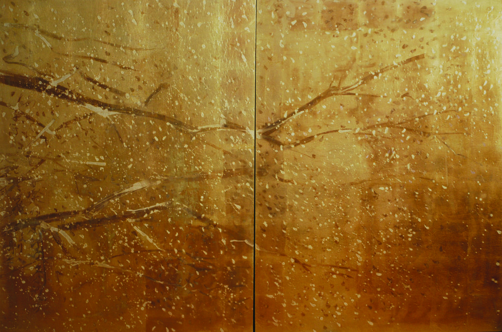 KS-048, Kae Sasaki, Untitled Cherry Blossoms Diptych, 2015, Oil and Patina on Goldleafed Panels, 48X72, SOLD