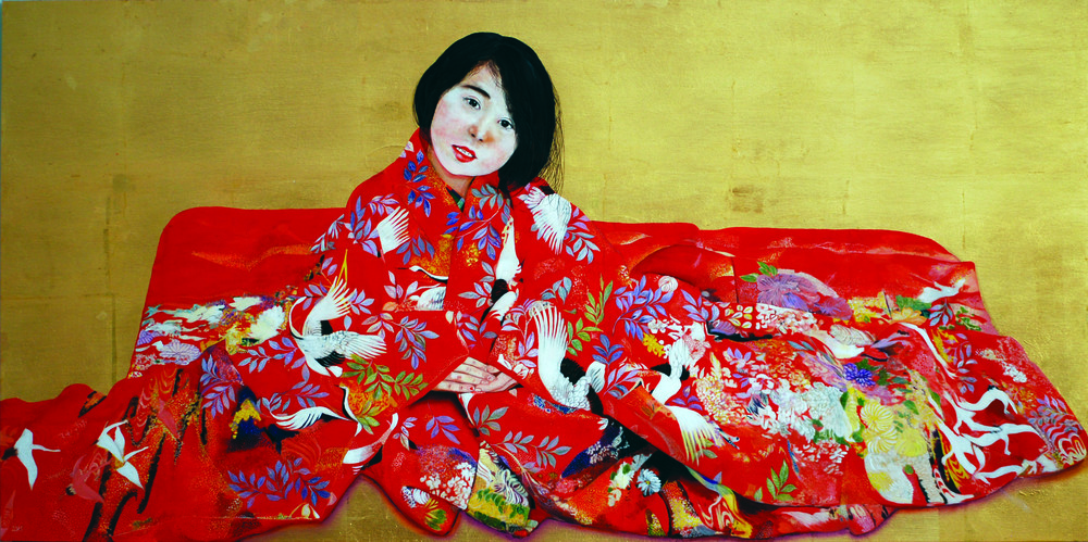 KS-049, Kae Sasaki, Red Burden, 2015, Oil on Goldleafed Panel, 24X48