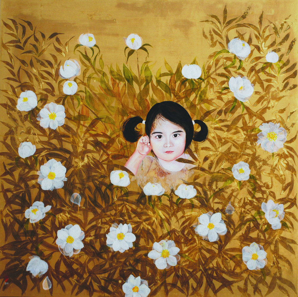 KS-050, KaeSasaki, Night Owl, 2015, Oil and Patina on Goldleafed Panel, 40X40