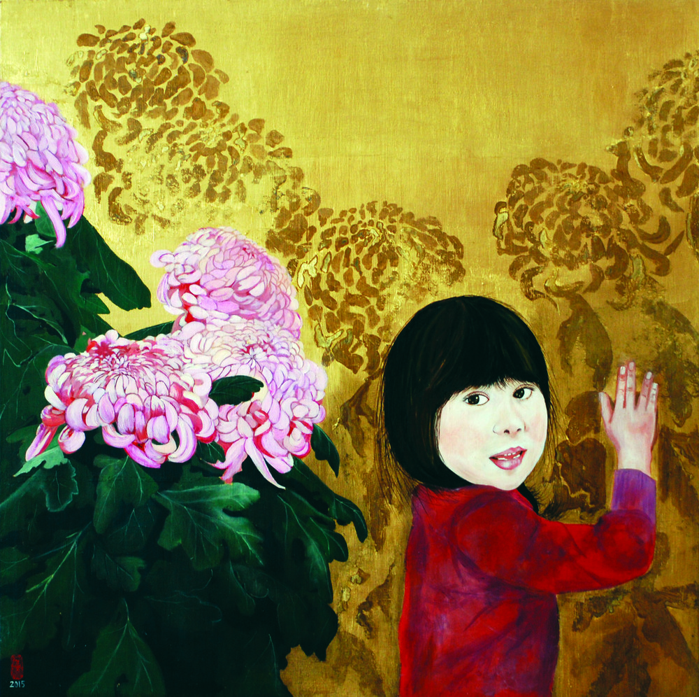 KS-055, Kae Sasaki, Girl with Big Bangs, 2015, Oil and Resin on GoldleafedPanel, 24X24