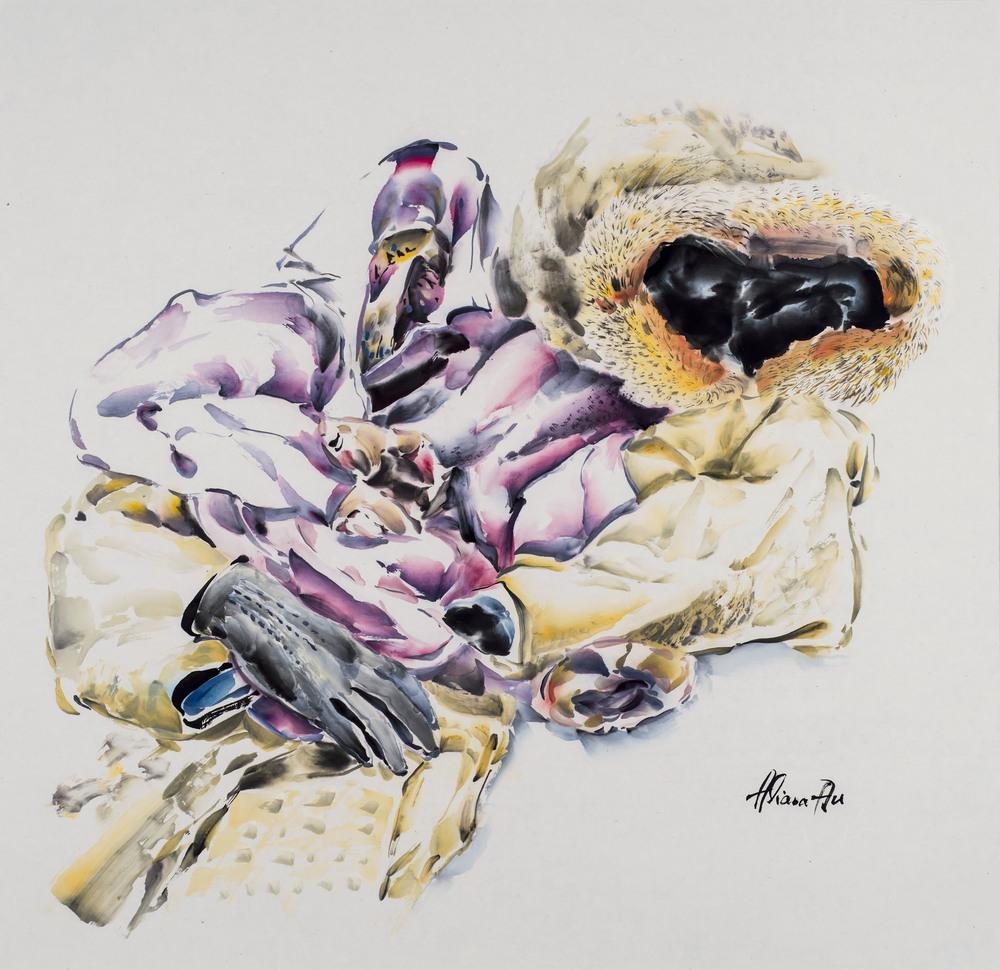 COATS & GLOVE, gouache & ink on paper, 26.5 inch X 27.5 inch, 2016