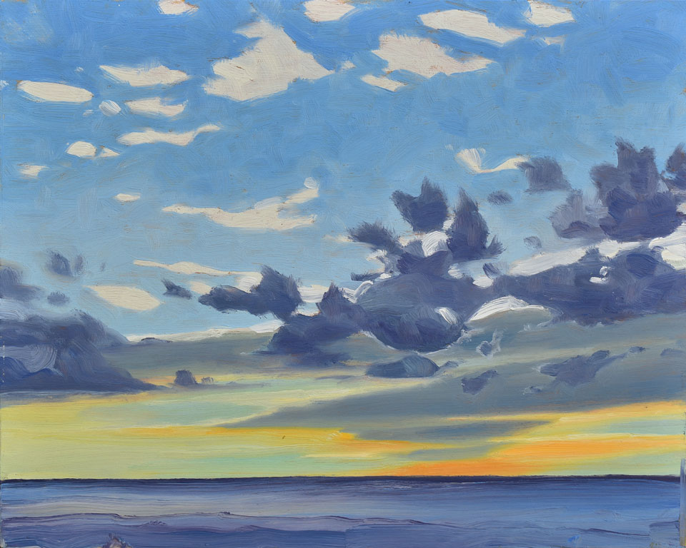 Victoria Beach Sunset 1 Manitoba, 2016, oil on panel, 8 x 10