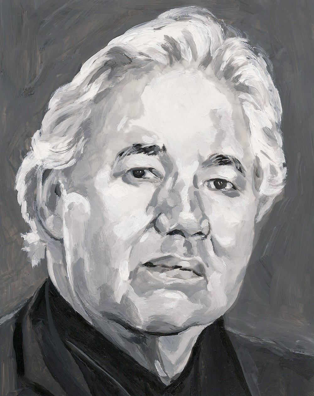 (Detail) 48 Portraits: Murray Sinclair, Acrylic on Mylar on Wood Panel, 2016.