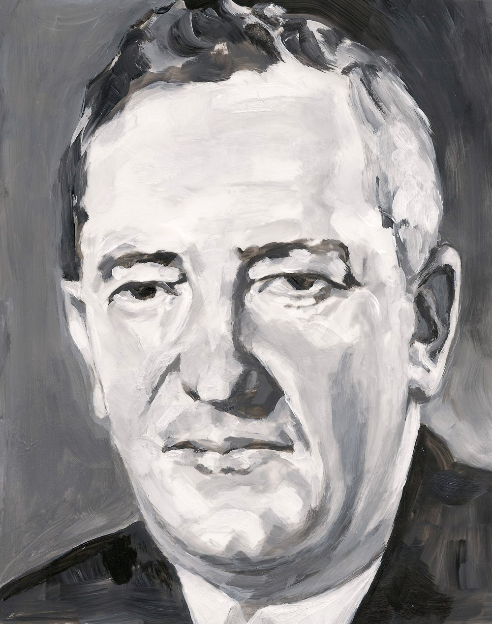 (Detail) 48 Portraits: Sir William Stephenson, Acrylic on Mylar on Wood Panel, 2016.