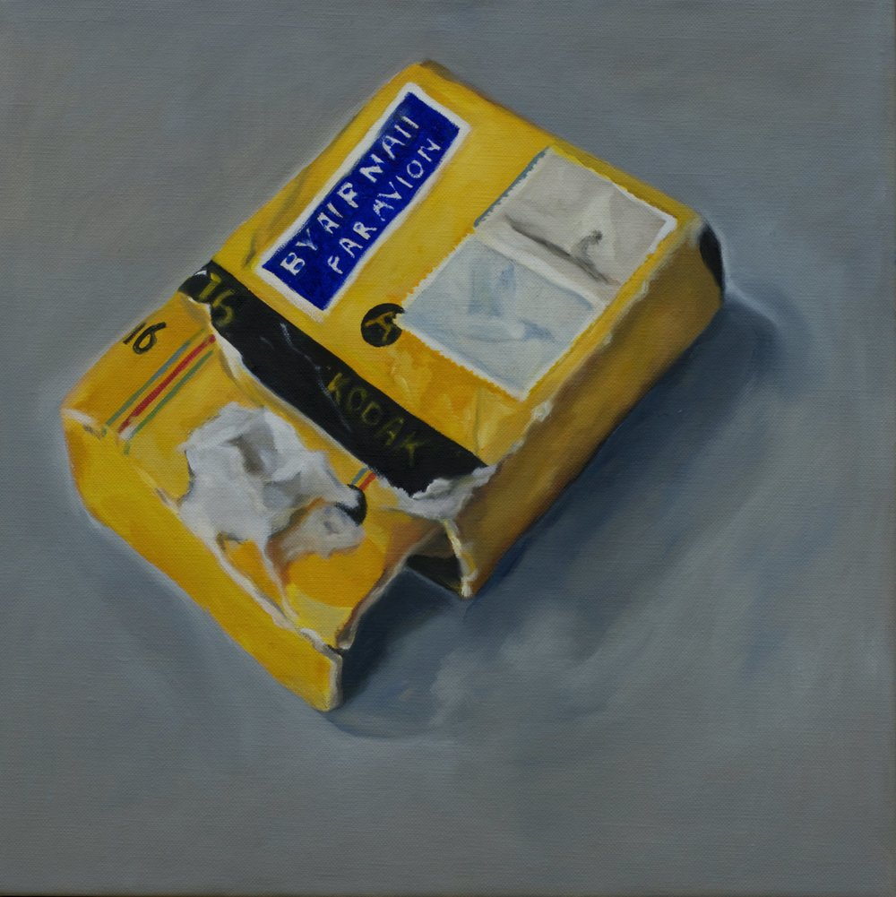 "Par Avion, Oil on Linen, 2016, 14"" x 14""."