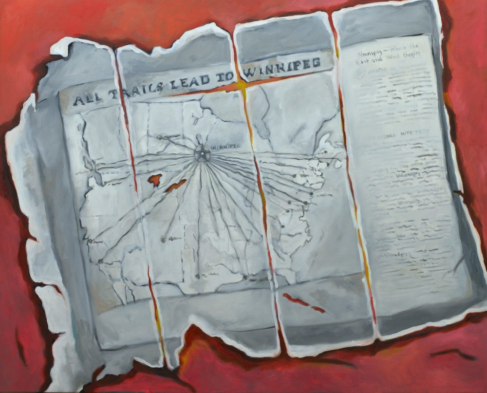 "All Trails Lead to Winnipeg, Oil on Canvas, 2016, 41"" x 33""."