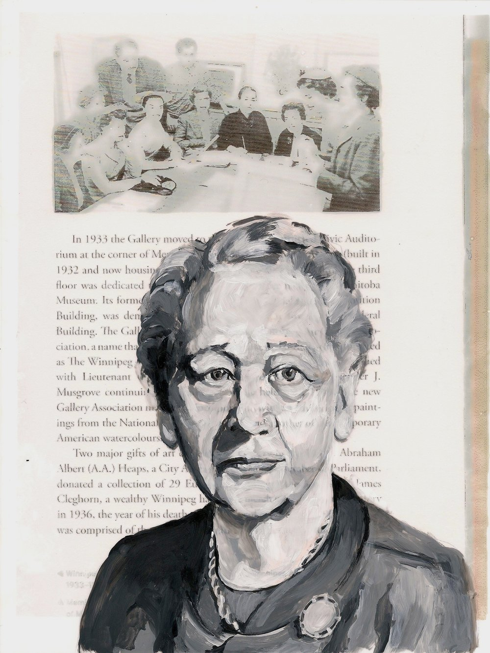 "Women Of Wag: Muriel Richardson and The Women's Committee, Acrylic and inkjet on mylar, 2012, 11"" x 8.5""."