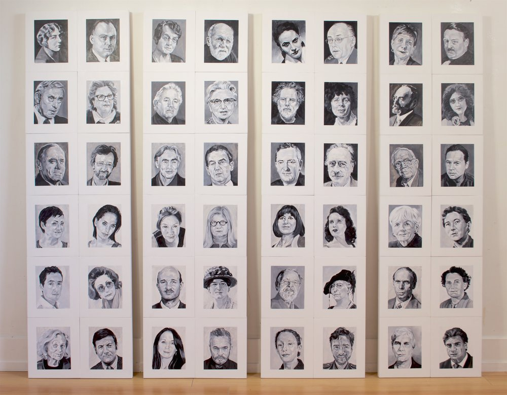 "48 Portraits (Panels A-D), Acrylic on Mylar on Wood Panel, 2016, 60"" x 17"""
