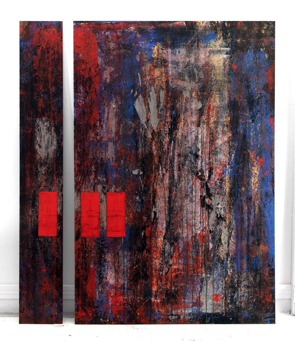 EB-060 Distraction, Mixed Media on Panel, 2016,  7 x 48 and 32 x 48 sm.jpg