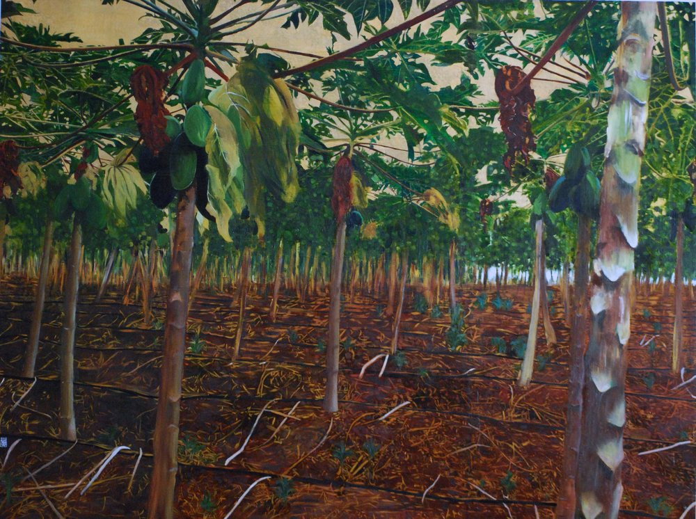 "Papaya Grove, 2016, Oil and patina on gold-leafed panel, 36"" x 48"""