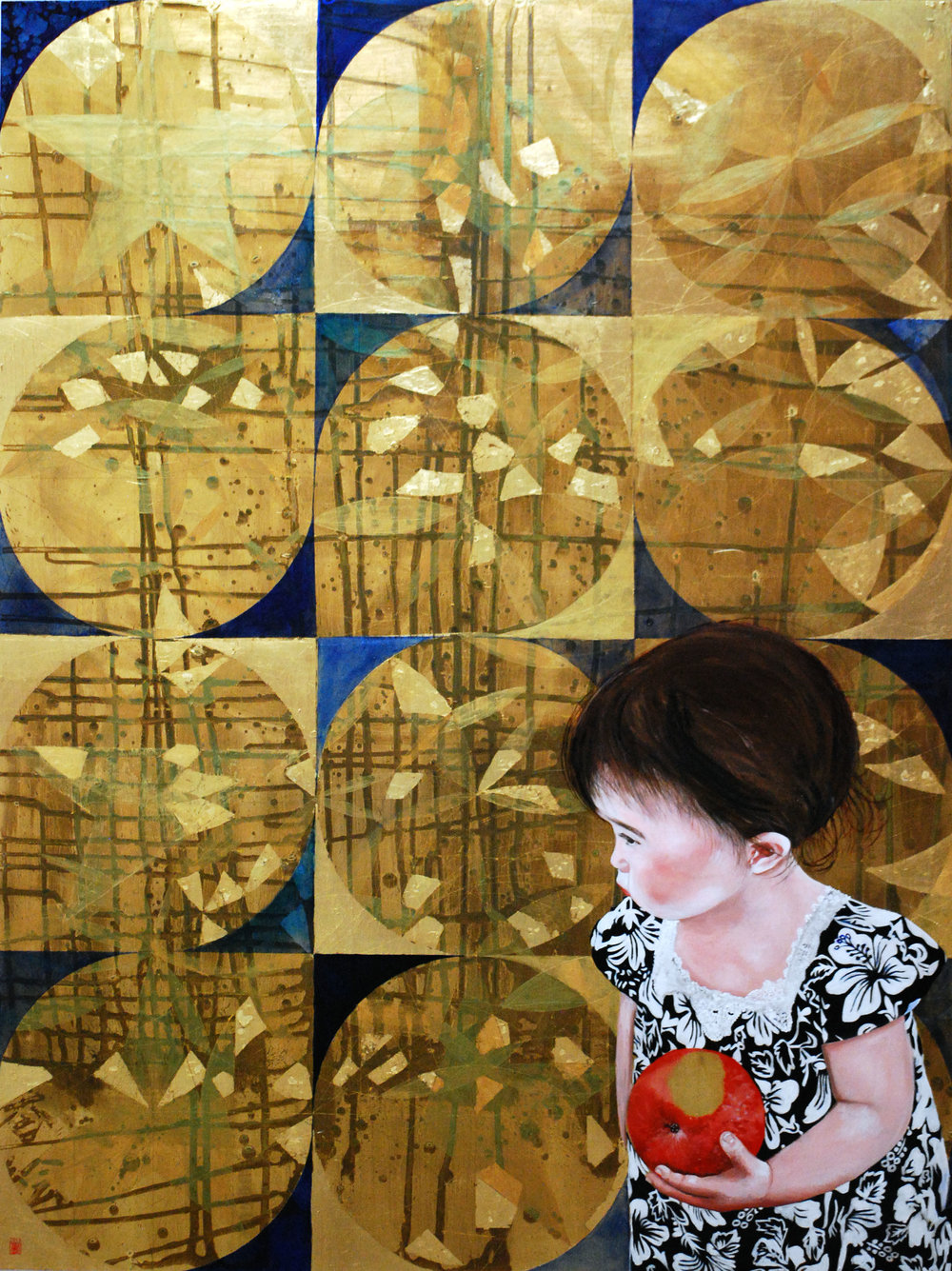 "Once Bitten Twice Shy, 2016, Oil and patina on gold-leafed panel, 48"" x 36"""