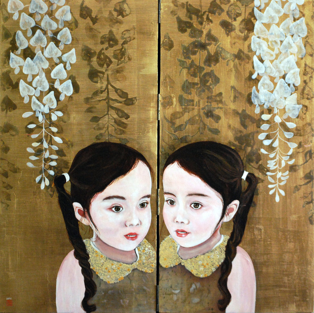 "Alba, 2016, Oil and patina on gold-leafed panel, 24"" x 24"""