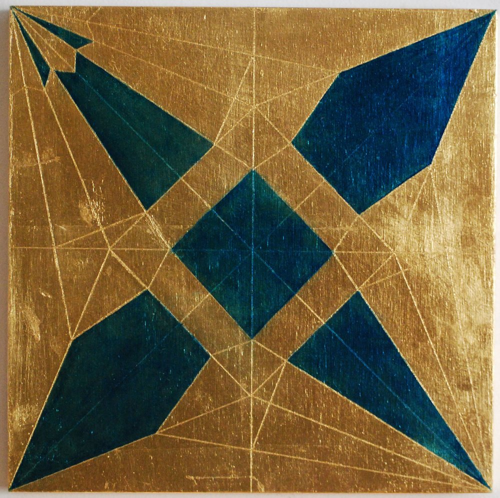 "Peace Study I, 2016, Oil and patina on gold-leafed panel, 12"" x 12"""